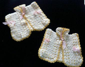 Vintage Crocheted Jacket  Potholders - (2)
