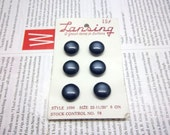 Vintage Buttons Gray Blue Semi-Translucent Plastic - Lot Of 6