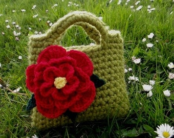 Little Girl Little Flower Purse in Meadow green with red flower detail - Listing19