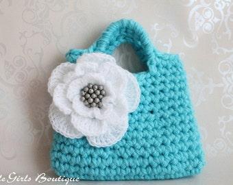 Little Girl Little Flower Purse in Aqua - Listing03