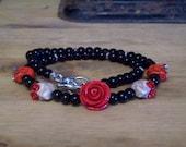 Red Velvet Rose and Sugar Skull Necklace