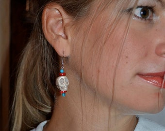 Classic Zombie Sugar Skull Earrings in Ivory, Red, and Turquoise