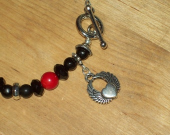 Classic Black and Red Winged Heart Pinup Style Charm Bracelet
