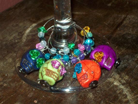 Colorful Fiesta Sugar Skull Wine Charms Set - Day of the Dead, Custom, Calavera, Dia de lost Muertos
