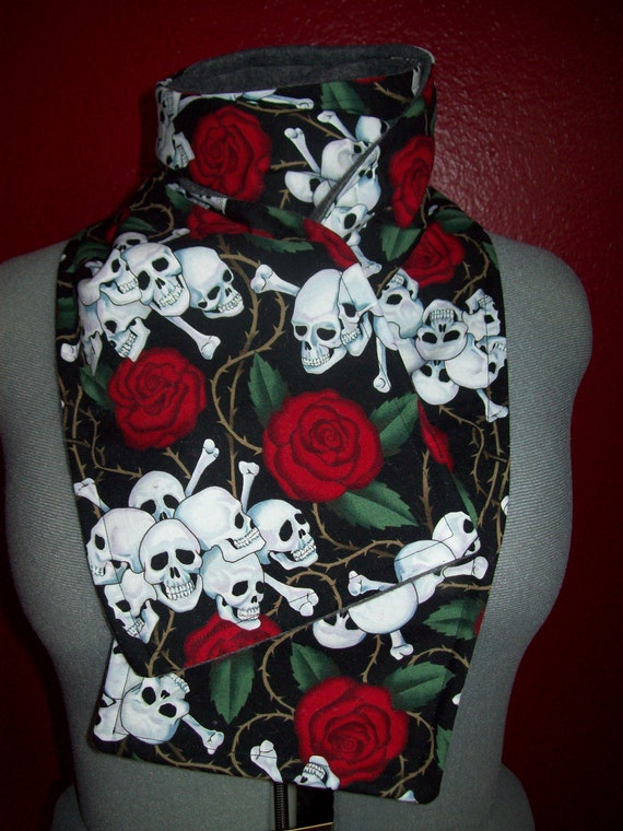 SALE - Last One - The Winter Bloom - Long Grey and Red Scarf With Skulls and Roses - Also Makes a Great Table Runner