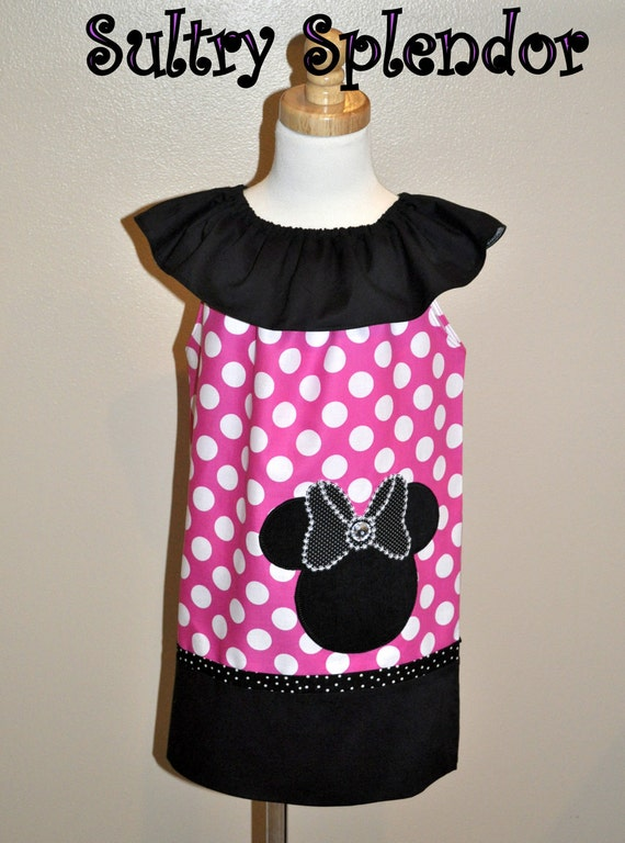 Pink Polka Dots Minnie Mouse Ruffle Neck Dress With Applique