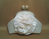 Bridal Clutch with Pearl Ball Frame and Large Flower