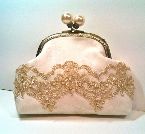Bridal Clutch Off White with Gold Trim Pearls and Sequins