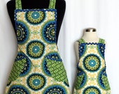 Mother & Daughter Aprons - Full, Green and Blue - Ready To Ship-