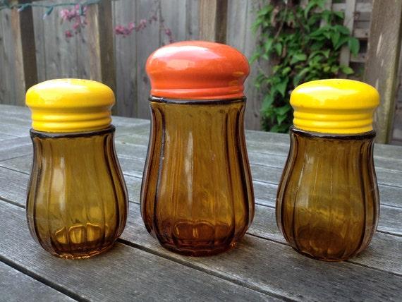 Vintage Retro Amber Glass Salt, Pepper and Sugar Shaker Set