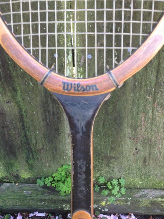 Vintage Wilson Advantage Wood Tennis Racket with Original Head Cover