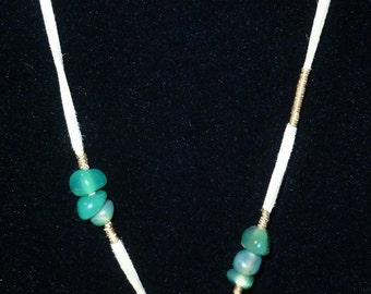 Asymmetrical Green Stone Wire Wrapped Necklace