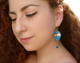 Blue Antique Lampwork and Swarovski Crystal Earrings