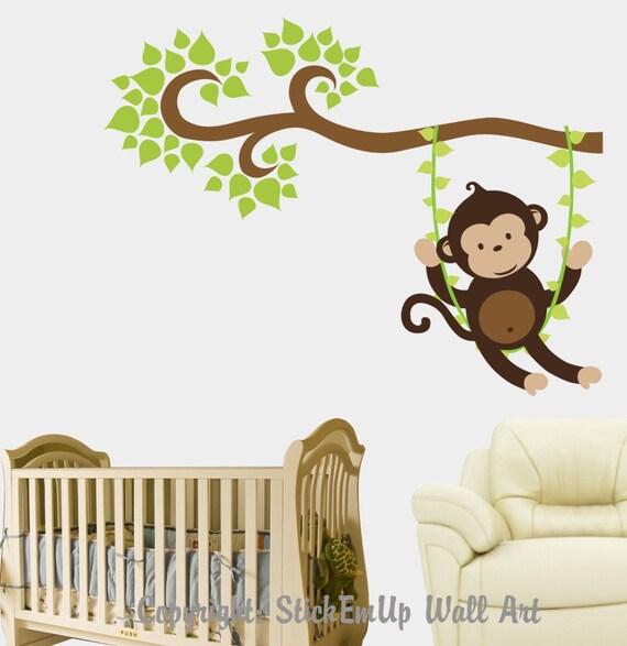 children wall decal 330 monkey wall decal nursery wall decal