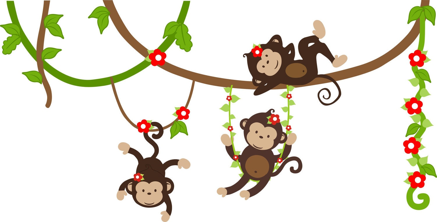 Nursery Wall Decals Monkey Wall Decals by StickEmUpWallArt