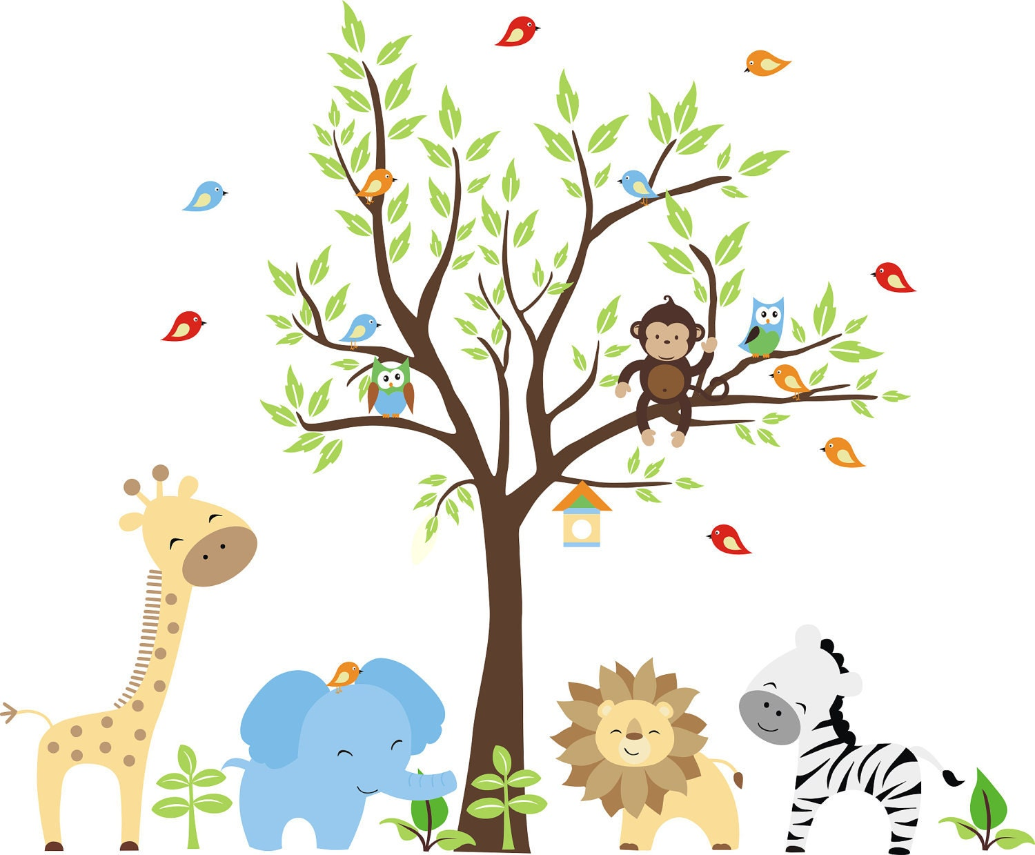 Baby wall decals 252 nursery wall decals by stickemupwallart for Baby jungle safari wall mural