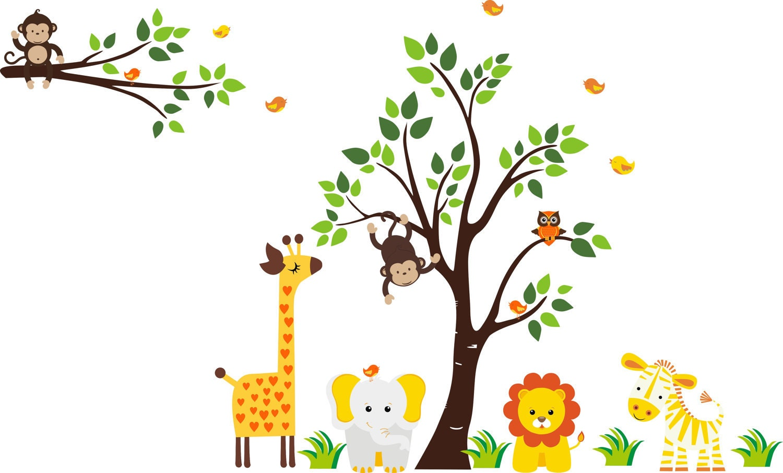Owl Wall Decals For Nursery Safari Tree Wall Decal Nursery Wall Decal Baby by ...