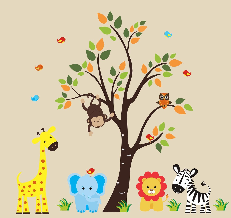 safari wall decal 128 nursery wall decal by stickemupwallart
