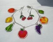 colorful fruit charm bracelet and earrings set original art