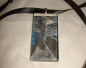 Grim Reaper artwork Death follows me glass scrabble tile pendant ooak art original