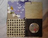 cloth message board Oriental theme Ramen noodles cranes fans kanji hanging magnet board 8X8 plus magnet