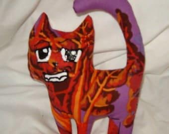 Manga cat Hot Blooded cute stuffed plush animal art doll kitty red purple