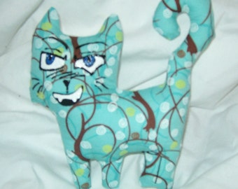 Manga cat Willow cute stuffed plush stuffed animal art doll tree design teal