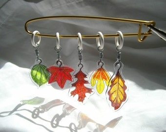 Leaves stitch markers original art no snag fall leaf autumn colors