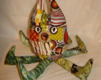 Plush monster ooak bad attitude alien unique fabric art doll