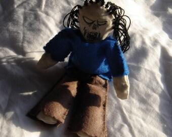 Zombie doll minature undead worry doll monster horror primitive felt handmade art doll
