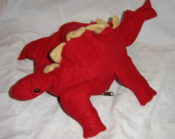 SALE Stegosaurus vintage toy plush stuffed animal inside out zipper pocket red dino