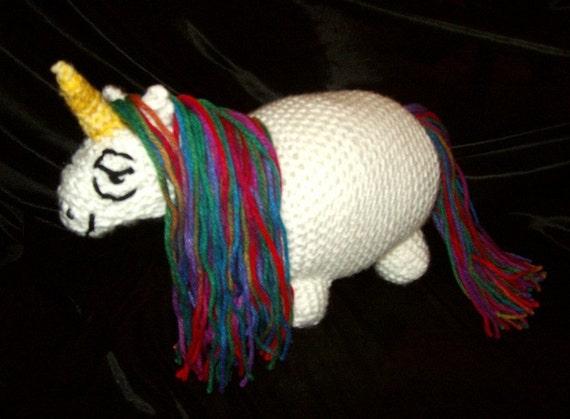 Unicorn plush pony fat chibi sarcastic amigurumi plushie crochet ooak humor