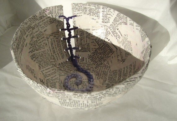 Paper mache vintage dictionary bowl with Frankenstein stitches