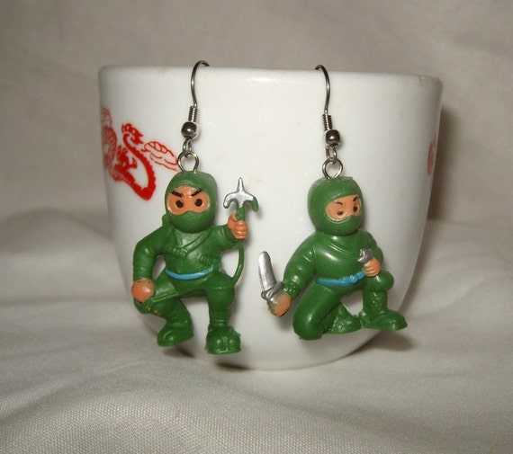 Tiny Ninja earrings rubber toy kawaii kitsch upcycled cute toys repurposed internet meme green