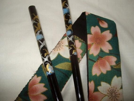 Japanese chopsticks case bento supplies utensils food on the go lunchbox eco green reusable cherry blossoms sakura
