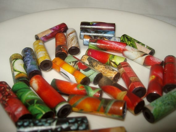 paper beads vegetable upcycle recycle paper tube beads assorted colors 1 inch