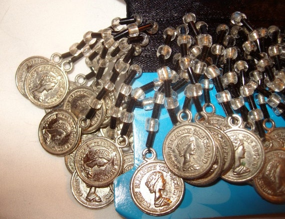 SALE coin fringe beaded commercial destash lady face tiny money English coins black and clear beads NIP