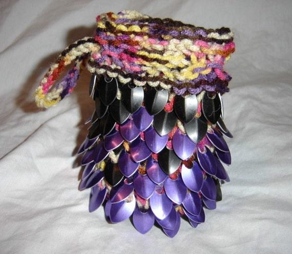 Purple Dragon Mardi Gras skin dice or card bag for fantasy gaming or LARP scalemail bag for runes coins pipe money medicine bag