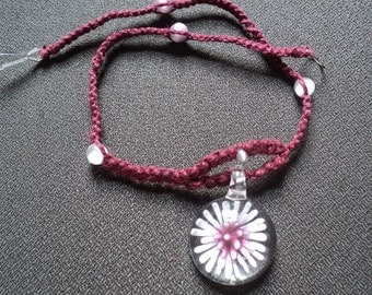 plUmEriA BuRsT Hemp Necklace Marroon with pink and white cats eye beads and Glass Pendant....free ship to u.s.