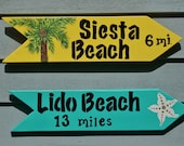 PERSONALIZED SIGNS, SET of 2:  Beach Signs, Island Signs, City Signs and/or any other favorite location - Custom Handpainted Signs