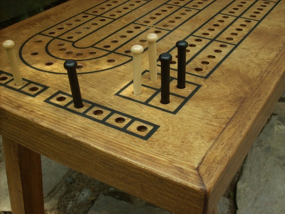 Game Table, Cribbage Board Coffee Table, Early American Minwax stain, Cribbage  Board,. ◅ - Game Table Cribbage Board Coffee Table Early American Minwax