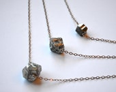 Iron Pyrite Necklace, Triple Strand, Fools Gold Nuggets, Brass Chain SAMPLE SALE