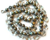 Green Amethyst and Pearl Necklace, Teal Aqua Freshwater Baroque, Hand Knotted