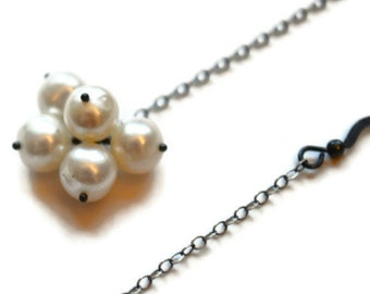 Freshwater Pearl Earrings, White Ivory Pearl Cluster, Long Dangle, Oxidized Sterling Silver Chain