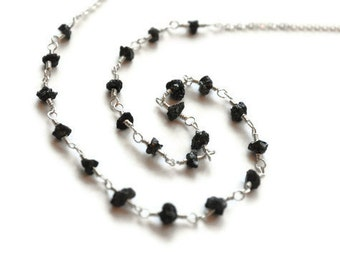 Rough Diamond Necklace, Uncut Black Diamonds, Natural Conflict Free, Rosary Style Wire Wrapped, Sterling Silver