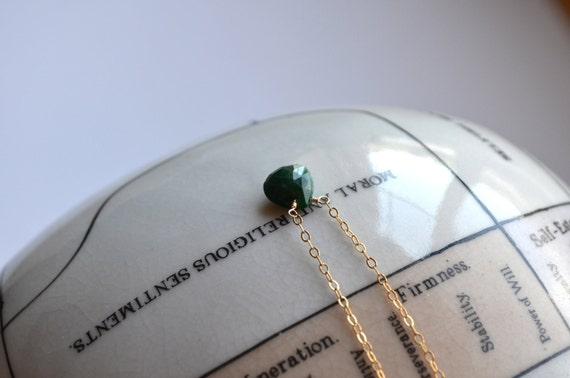 Natural Emerald Necklace, Opaque Green, Delicate 14k Gold Filled Chain