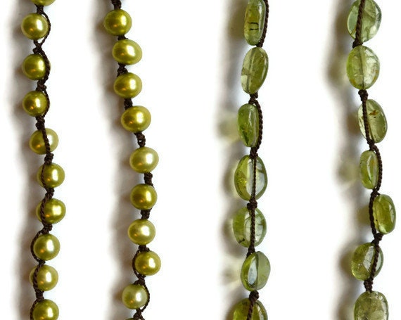 Pearl and Peridot Necklace, Candy Apple Green, Freshwater Baroque, Rustic Single Strand