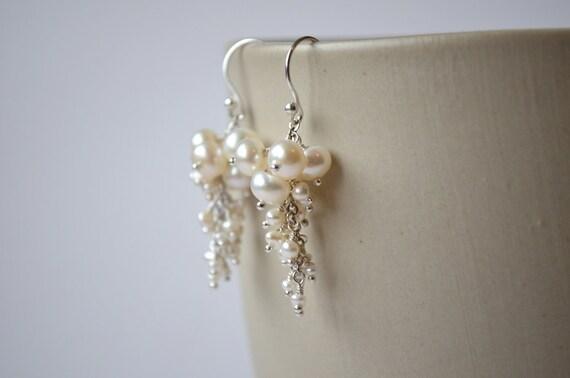 Freshwater Pearl Earrings, White Ivory Pearl Cascade, Long Dangle, Sterling Silver
