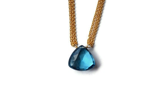 London Blue Topaz Necklace, Multi Strand Delicate 14k Gold Filled Chain