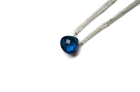 London Blue Quartz Necklace, Large Blue Faceted Gemstone, Delicate Sterling Silver Multi Chain